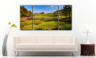 Blea Tarn Summer Meadow - 3 Panel Wide Centre Canvas on Wall