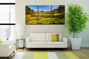 Blea Tarn Summer Meadow - 3 Panel Canvas on Wall