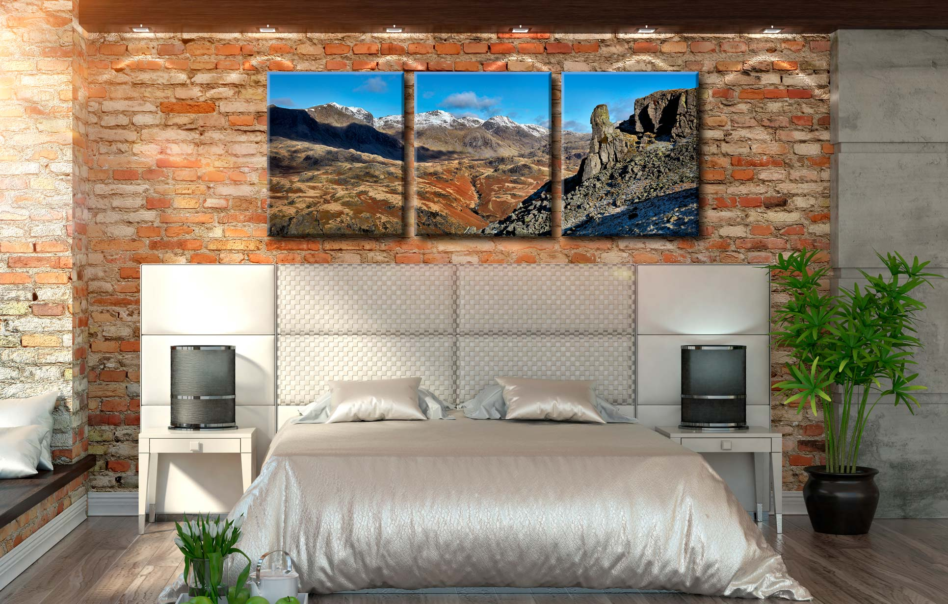 Eskdale Needle Winter Panorama - 3 Panel Canvas on Wall