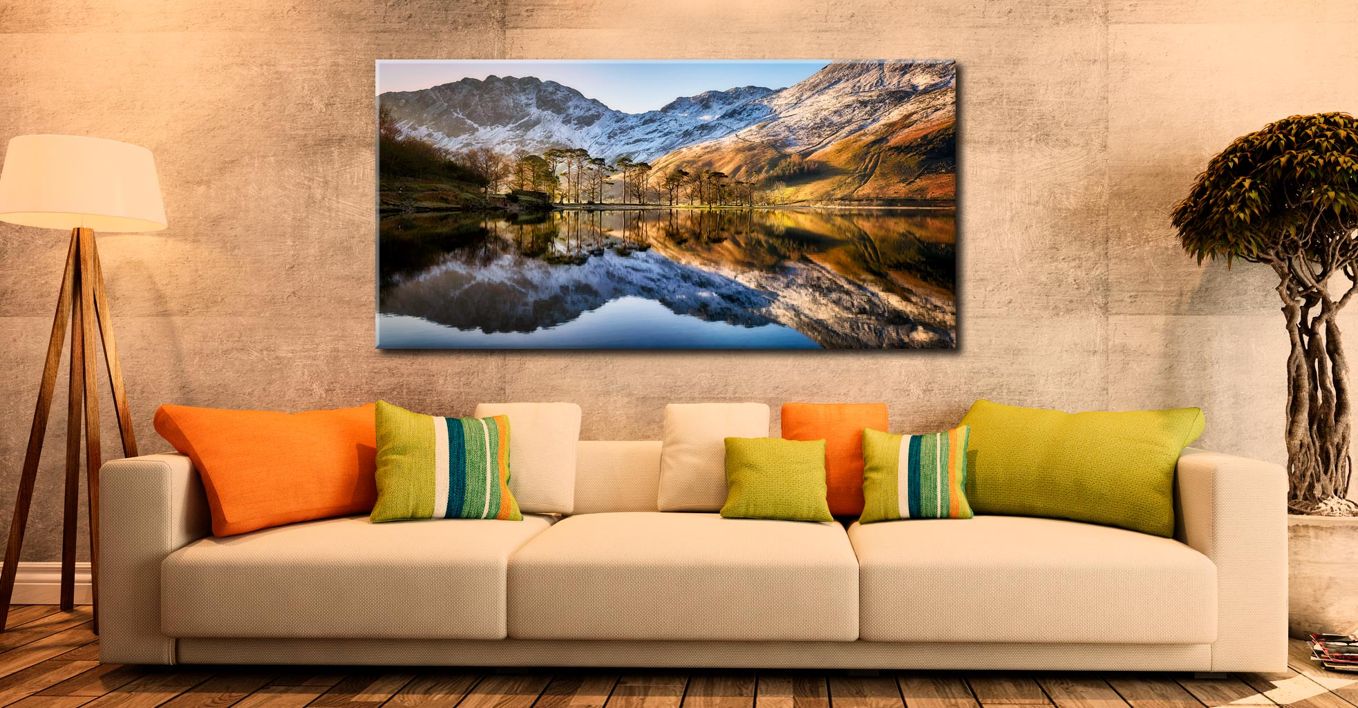Winter Reflections Buttermere - Canvas Print on Wall