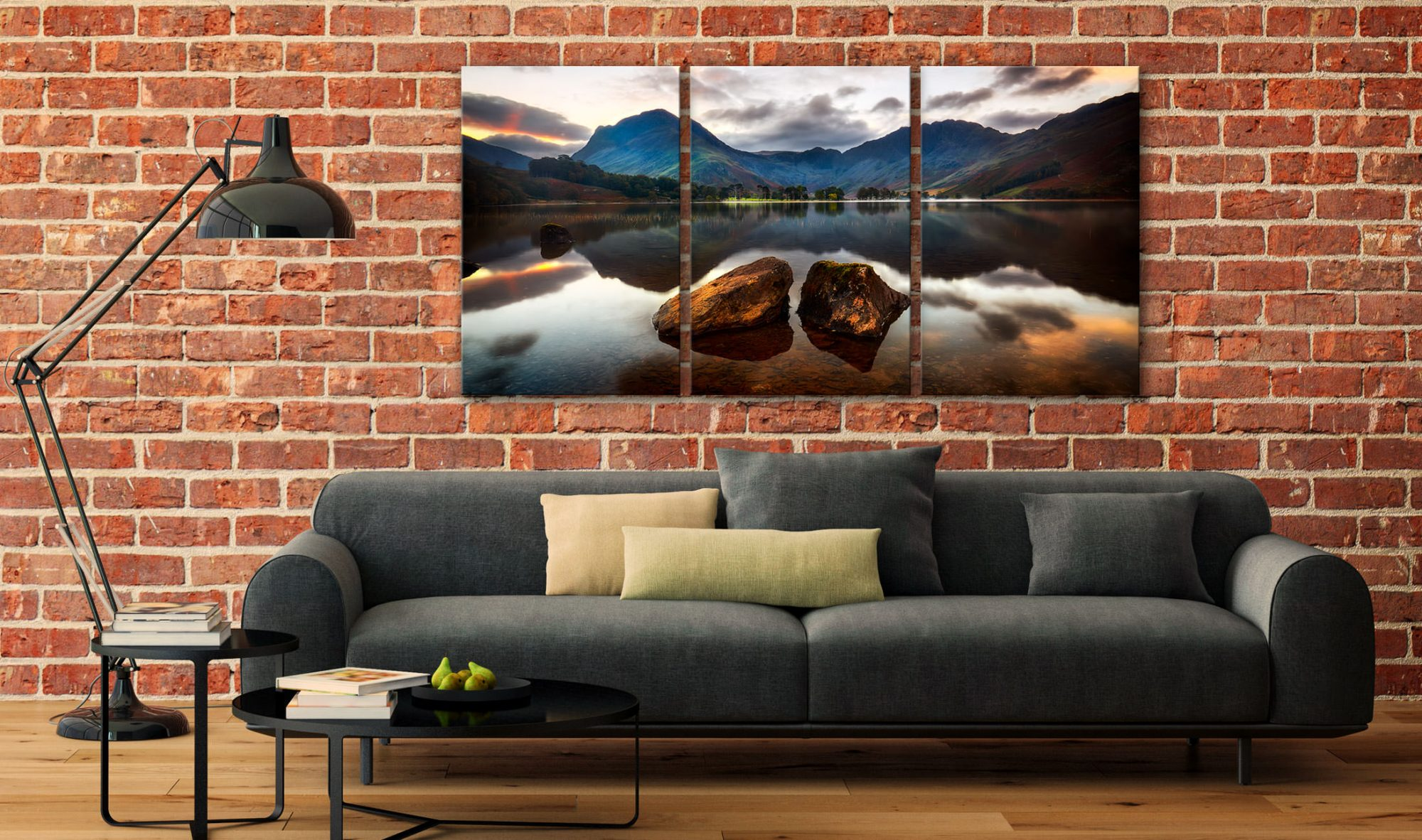Buttermere Rocks - 3 Panel Canvas on Wall