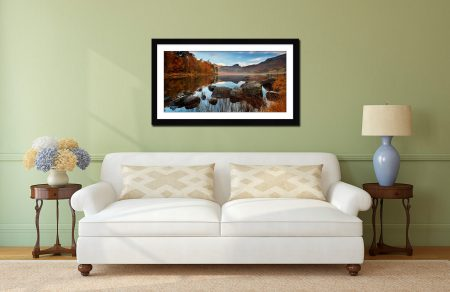 Golden Autumn Blea Tarn - Framed Print with Mount on Wall