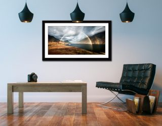 Wast Water Double Rainbow - Framed Print with Mount on Wall