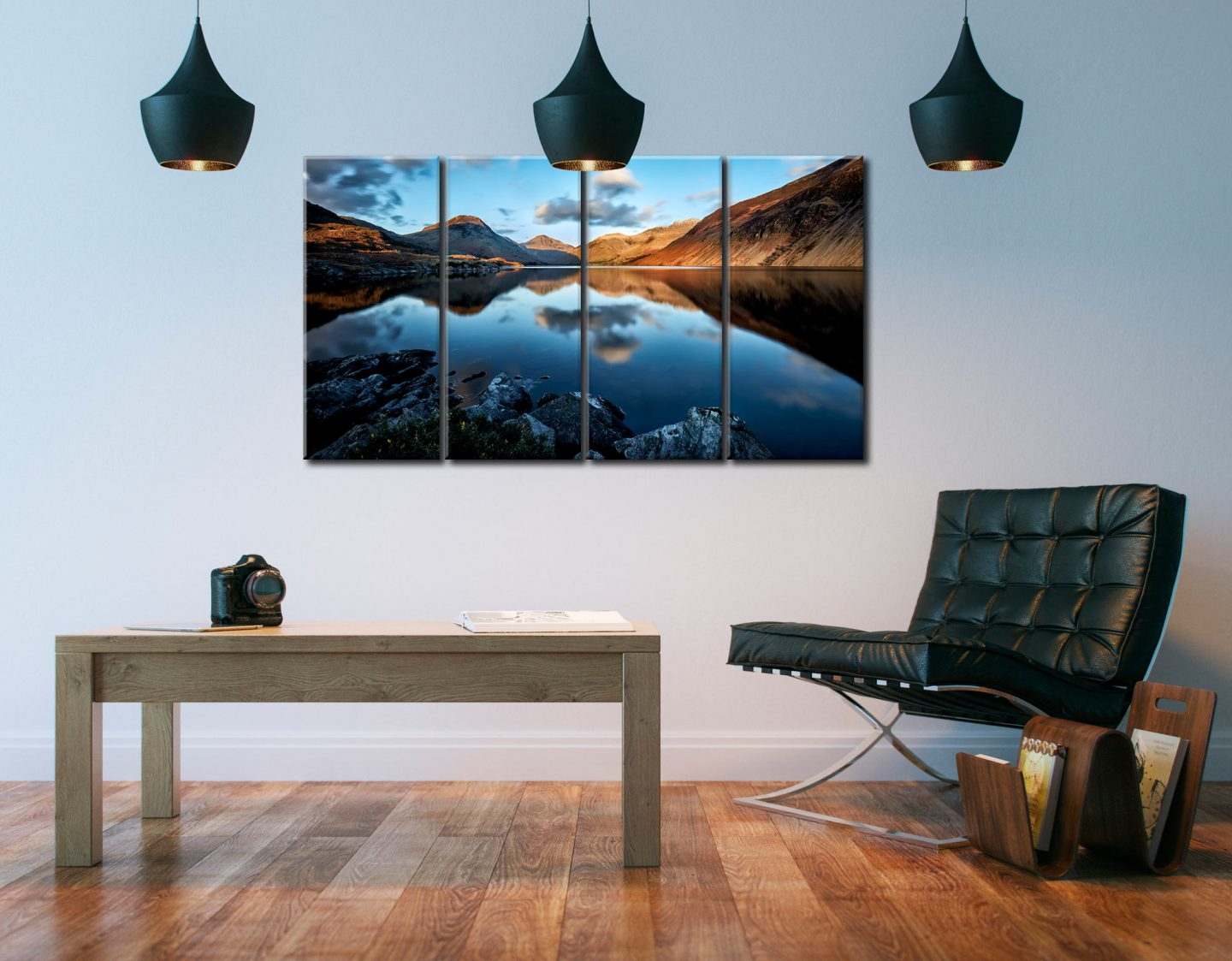 Golden Winter Sunlight Over Wast Water - 4 Panel Canvas on Wall