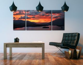 Blazing Skies Over Derwent Water - 3 Panel Wide Centre Canvas on Wall
