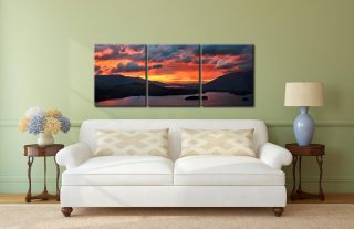 Blazing Skies Over Derwent Water - 3 Panel Canvas on Wall
