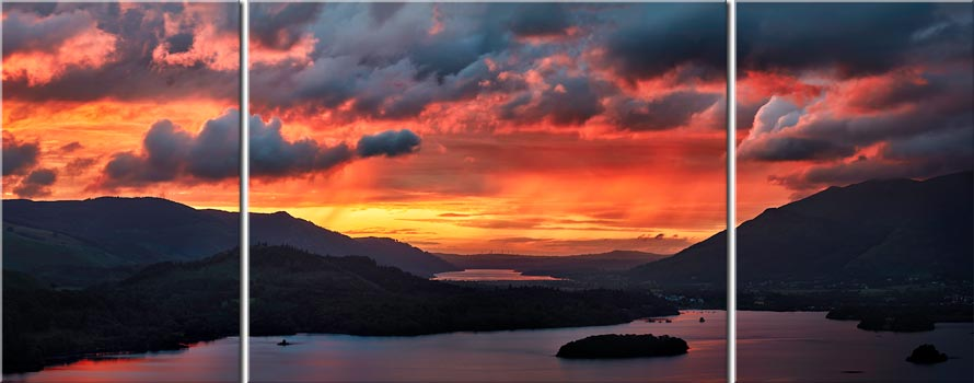 Blazing Skies Over Derwent Water - 3 Panel Canvas