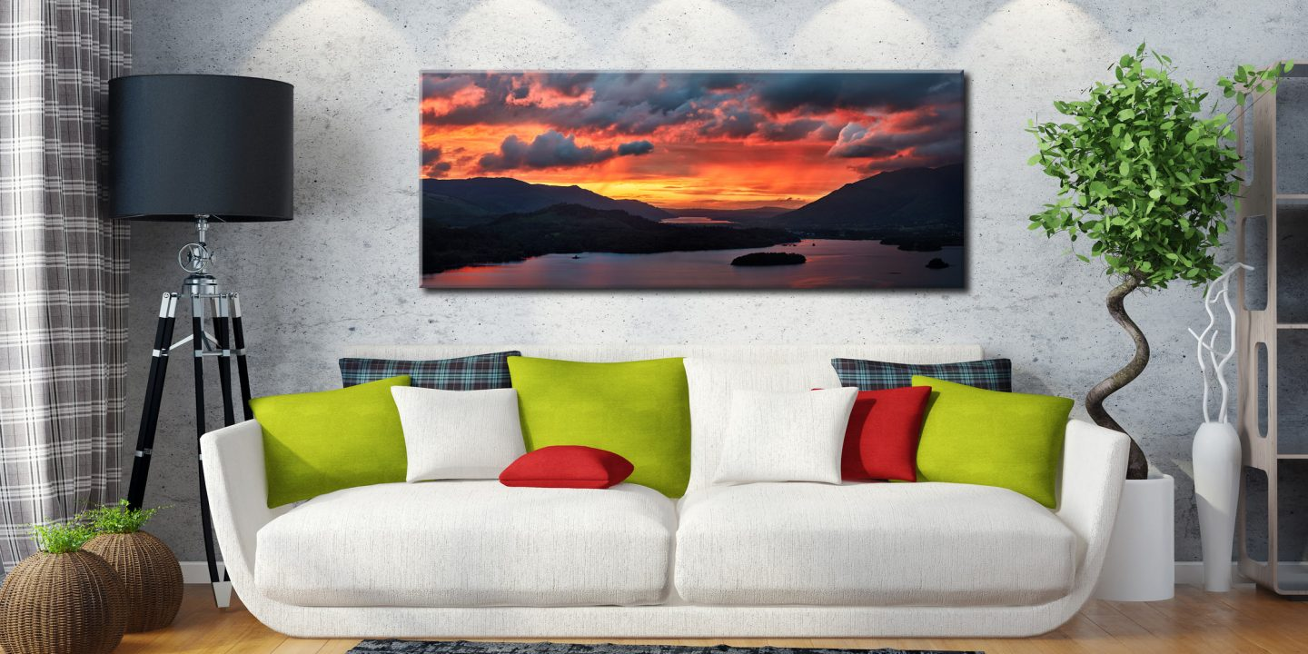 Blazing Skies Over Derwent Water - Canvas Print on Wall