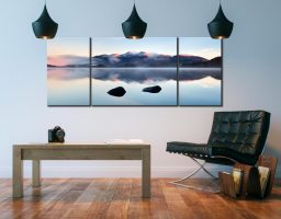 New Day Dawns Over Derwent Water - 3 Panel Wide Centre Canvas on Wall