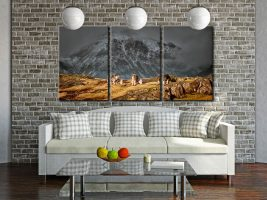 Three Sheep and a Mountain - 3 Panel Canvas on Wall