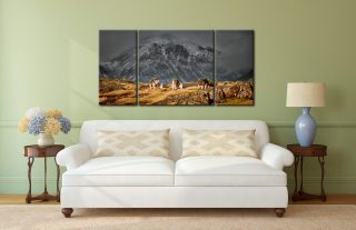 Three Sheep and a Mountain - 3 Panel Wide Centre Canvas on Wall