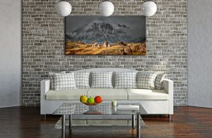 Three Sheep and a Mountain - Canvas Print on Wall