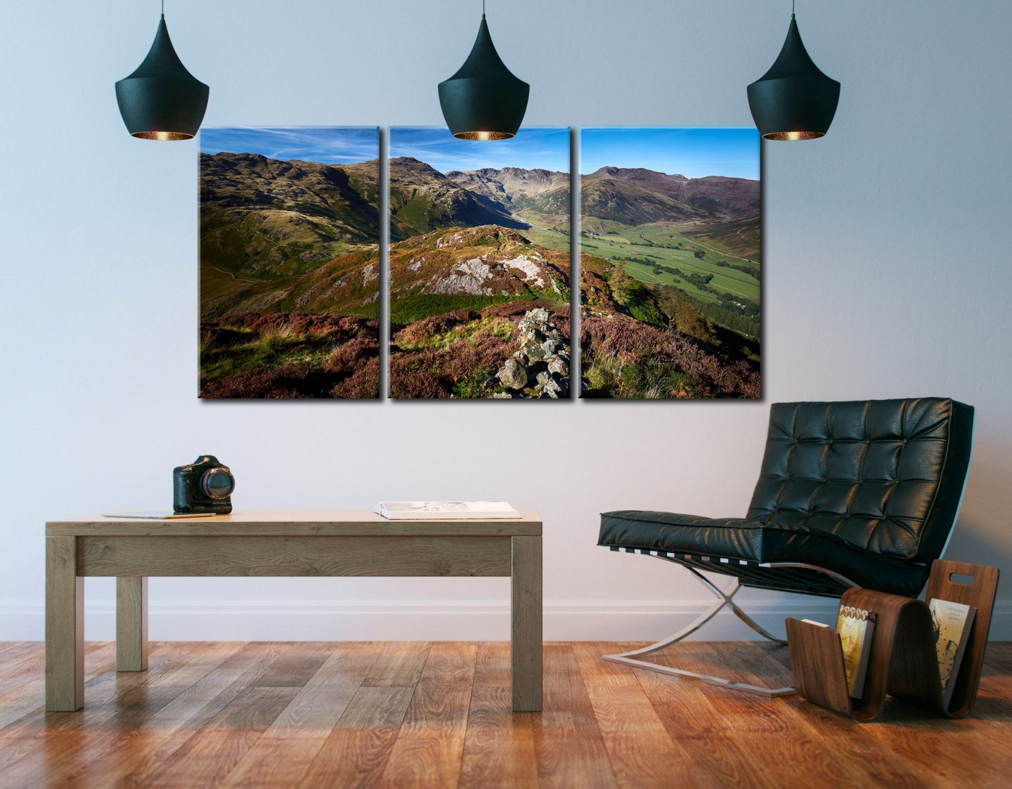 Langdale Fells from Side Pike - 3 Panel Canvas on Wall