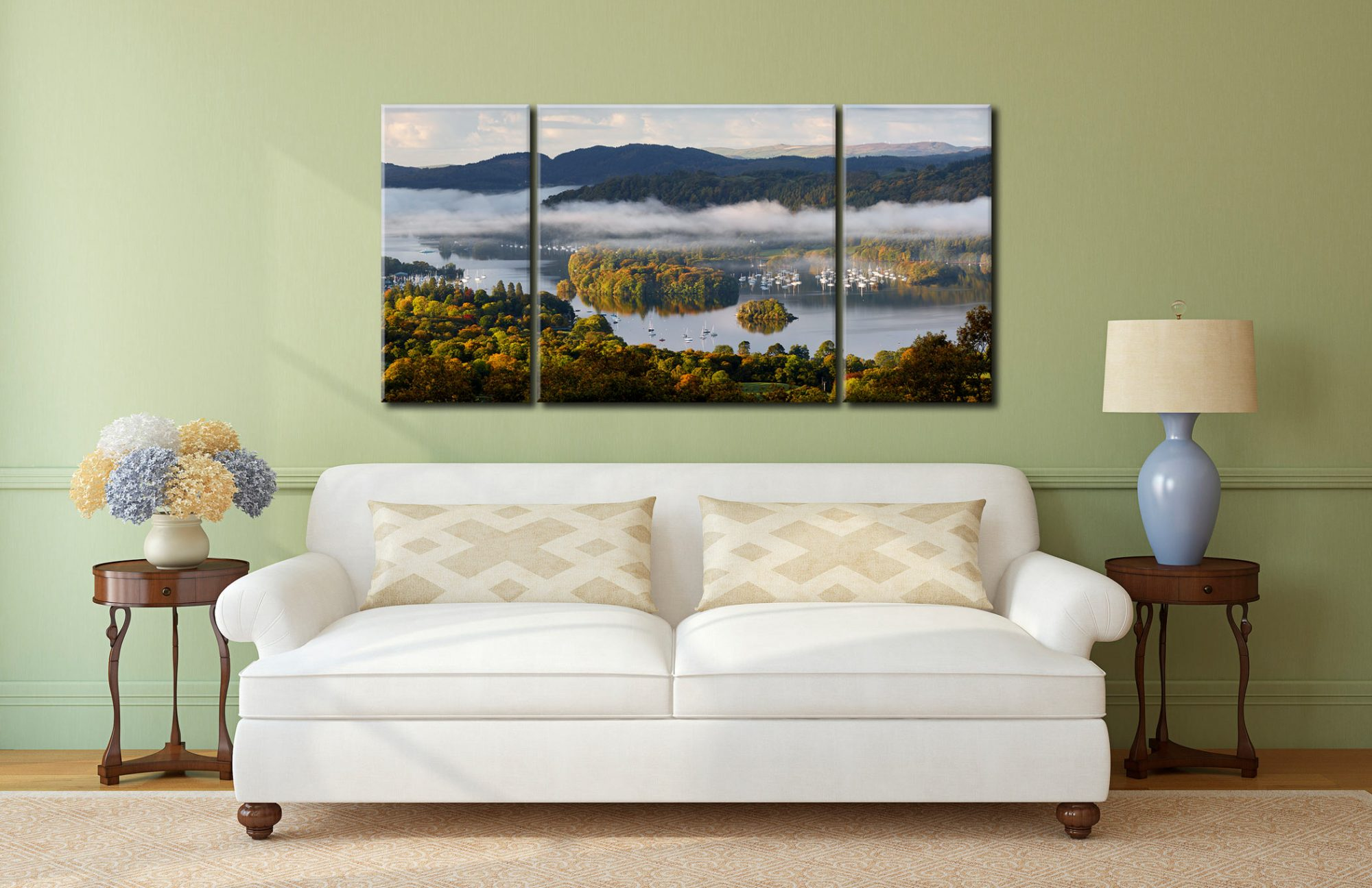 Windermere Morning Mists - 3 Panel Wide Centre Canvas on Wall