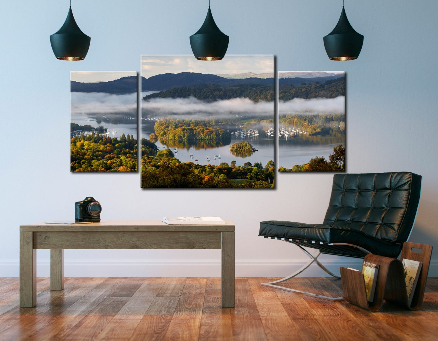 Windermere Morning Mists - 3 Panel Canvas Arch on Wall