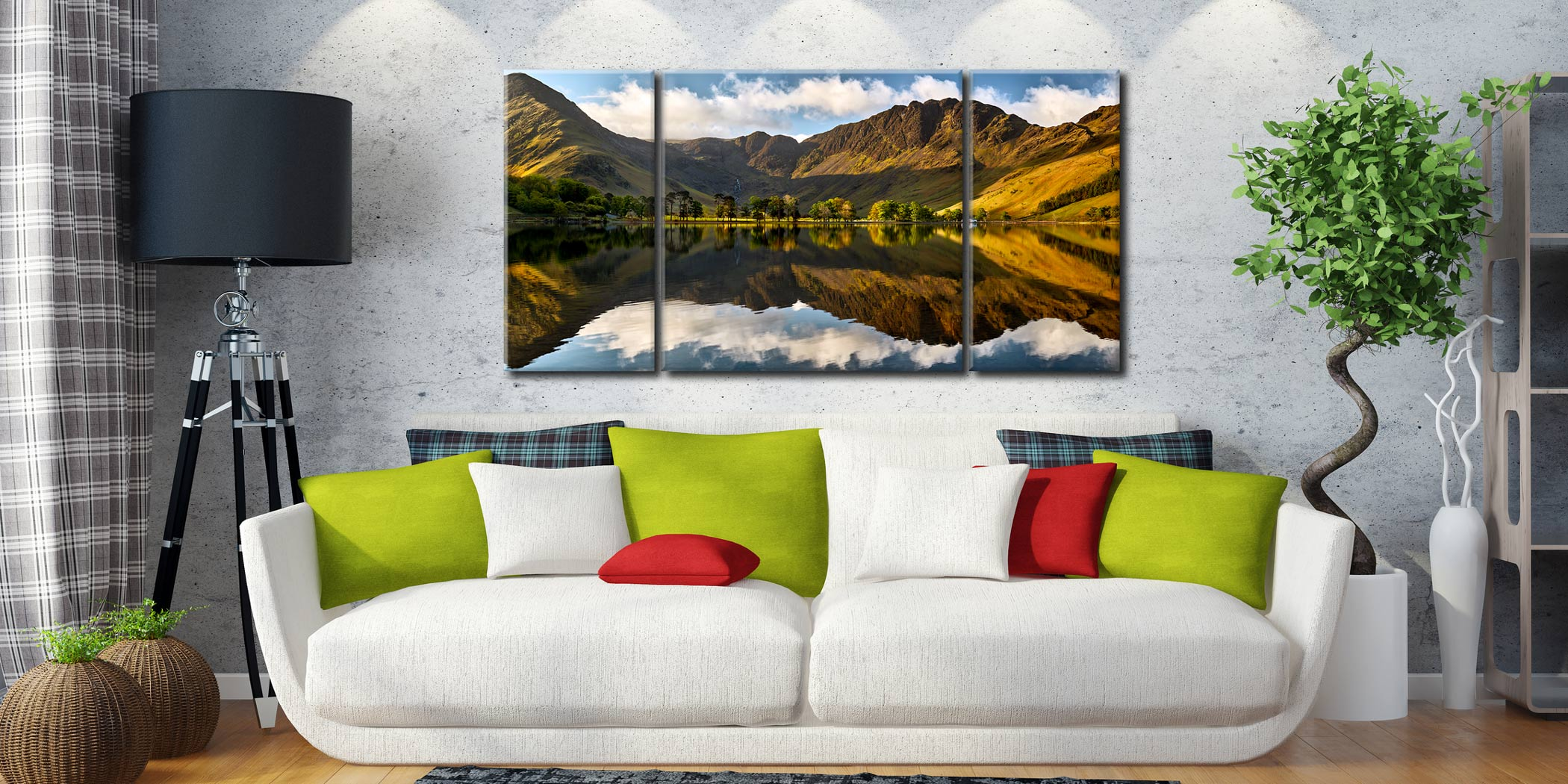 First Light on the Buttermere Pines - 3 Panel Wide Centre Canvas on Wall