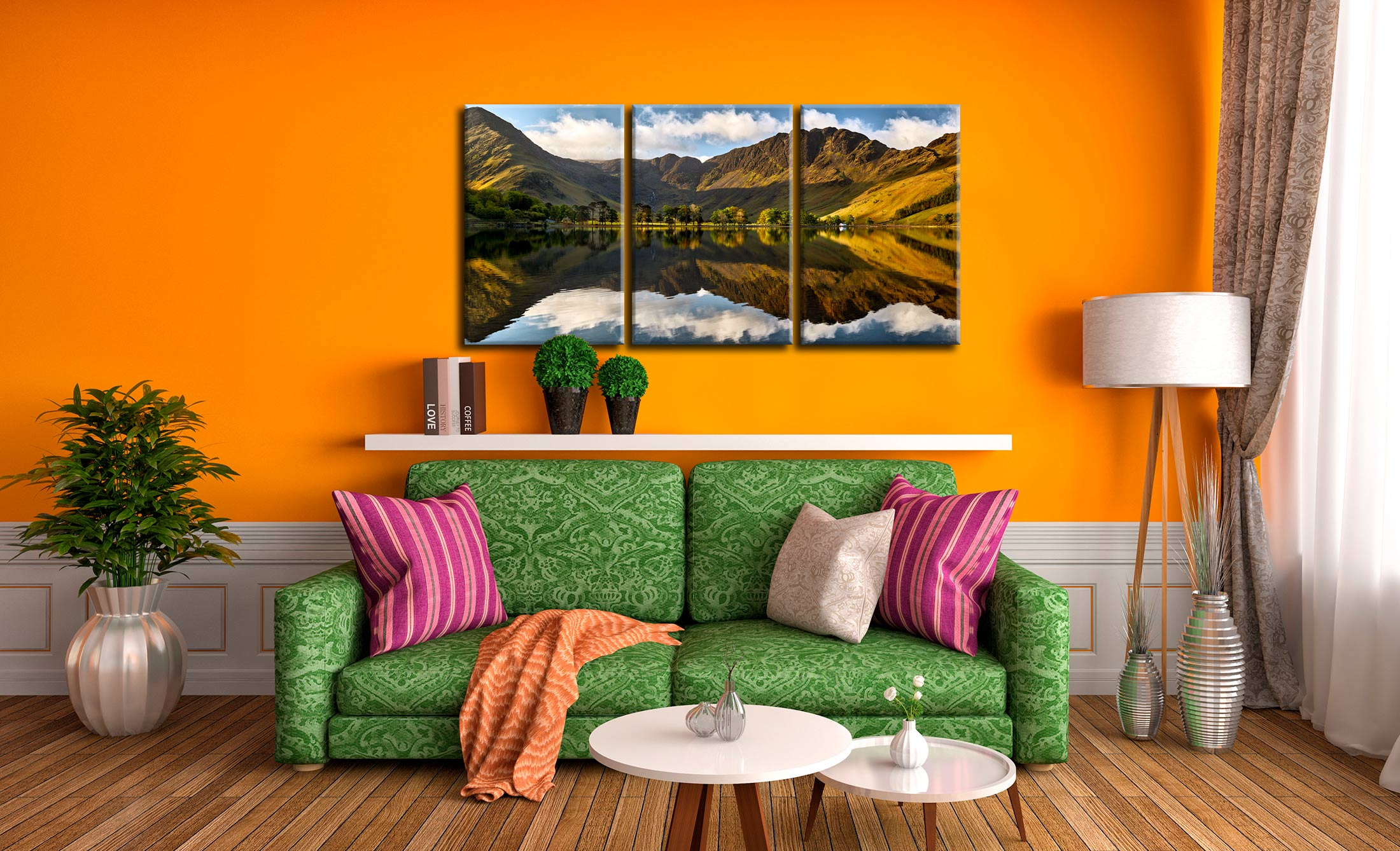 First Light on the Buttermere Pines - 3 Panel Canvas on Wall