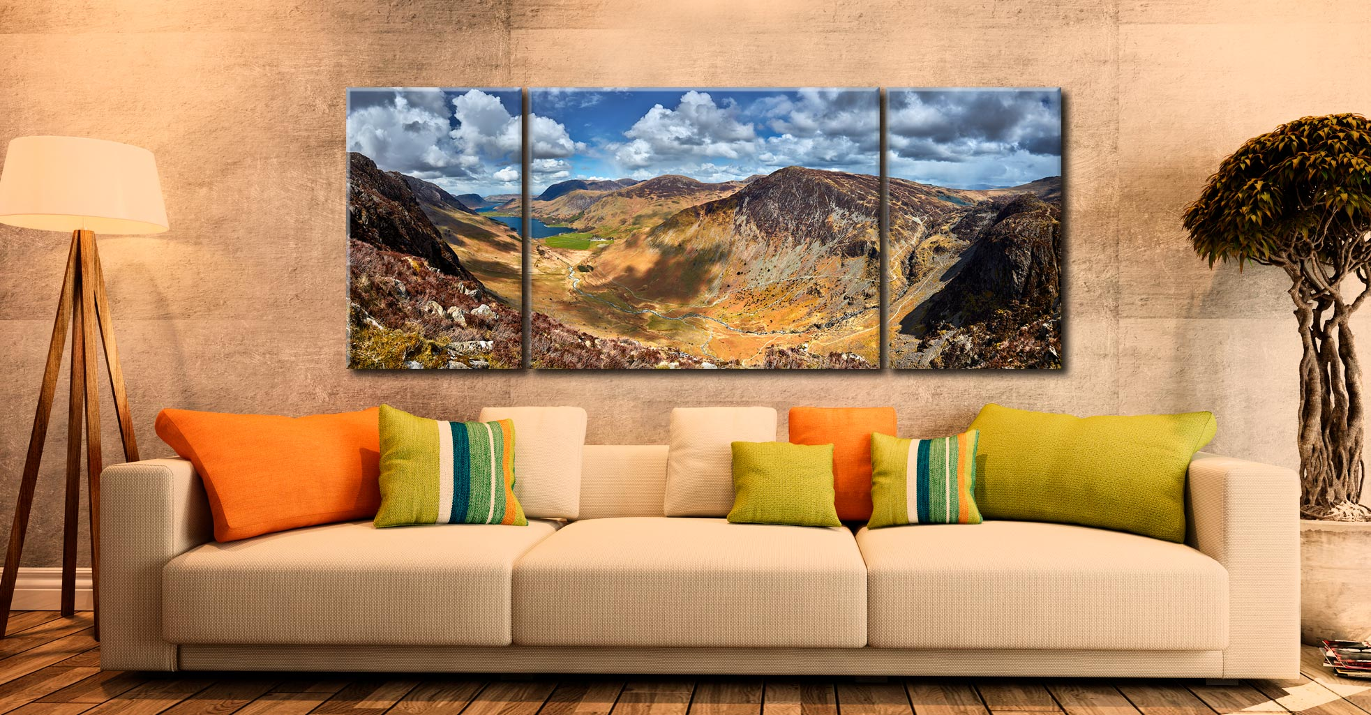 Fleetwith Pike and Buttermere Valley - 3 Panel Wide Centre Canvas on Wall