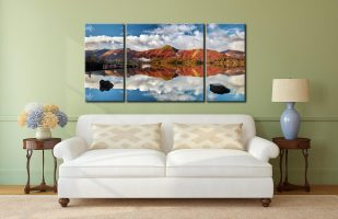 Catbells in Autumn - 3 Panel Wide Centre Canvas on Wall