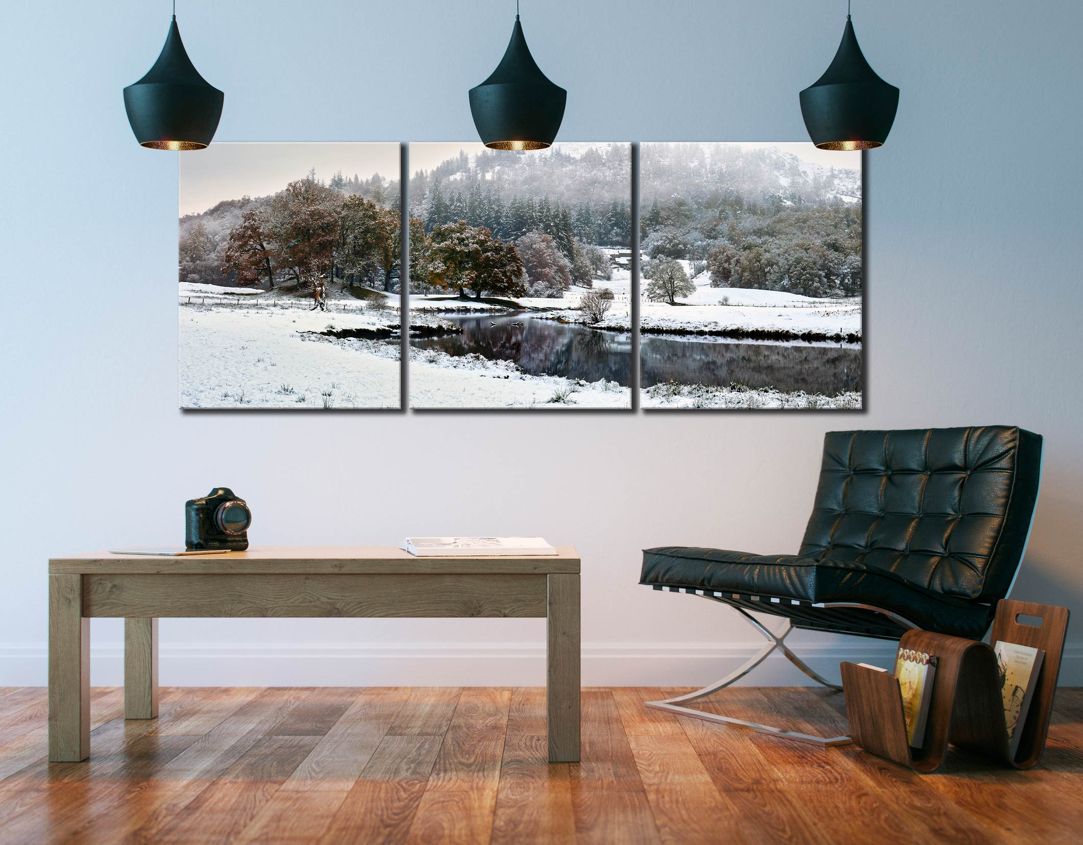 River Brathay Winter Wonderland - 3 Panel Canvas on Wall