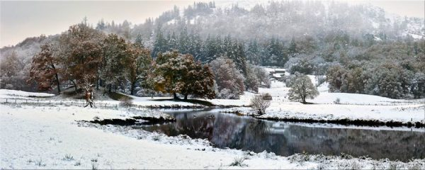 River Brathay Winter Wonderland - 4 Panel Canvas