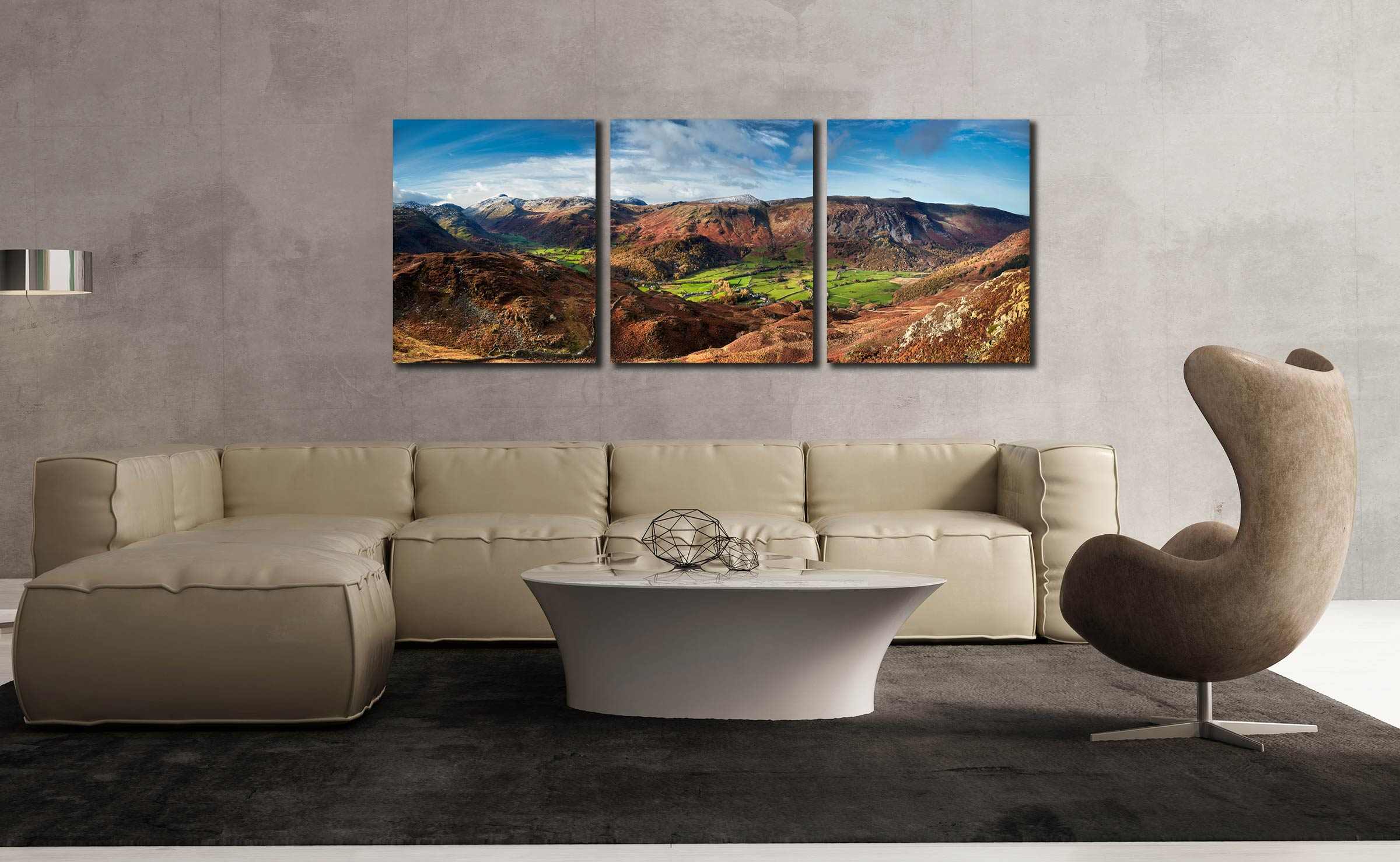 The Green Fields of Borrowdale - 3 Panel Canvas on Wall