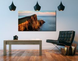 Golden Cliffs Neist Point Lighthouse - Canvas Print on Wall