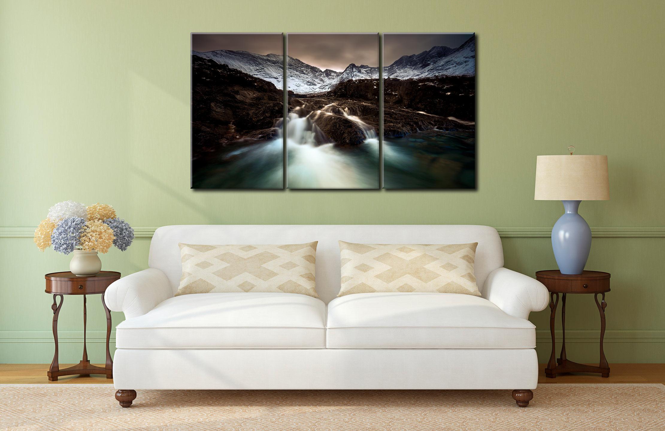 The Dark Fairy Pools - 3 Panel Canvas on Wall