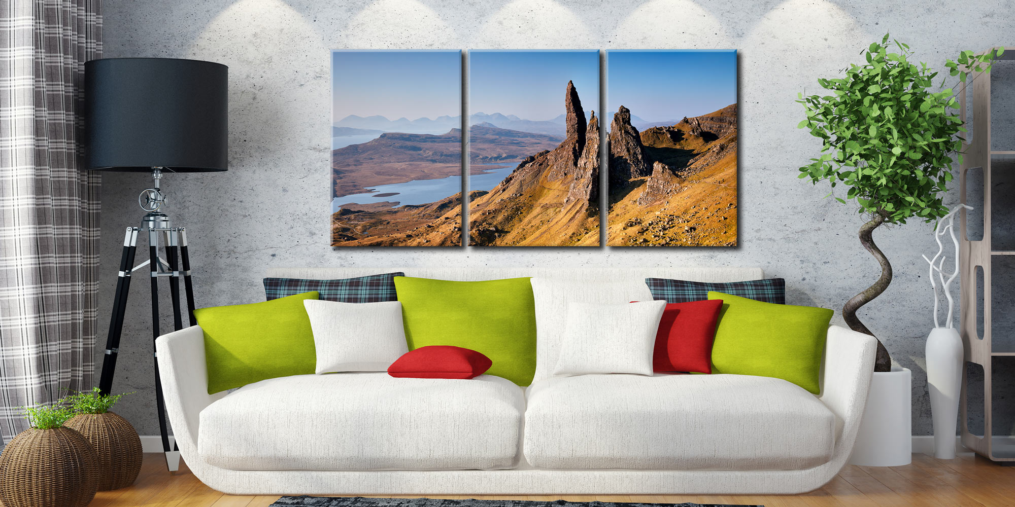 Old Man of Storr Panorama - 3 Panel Canvas on Wall