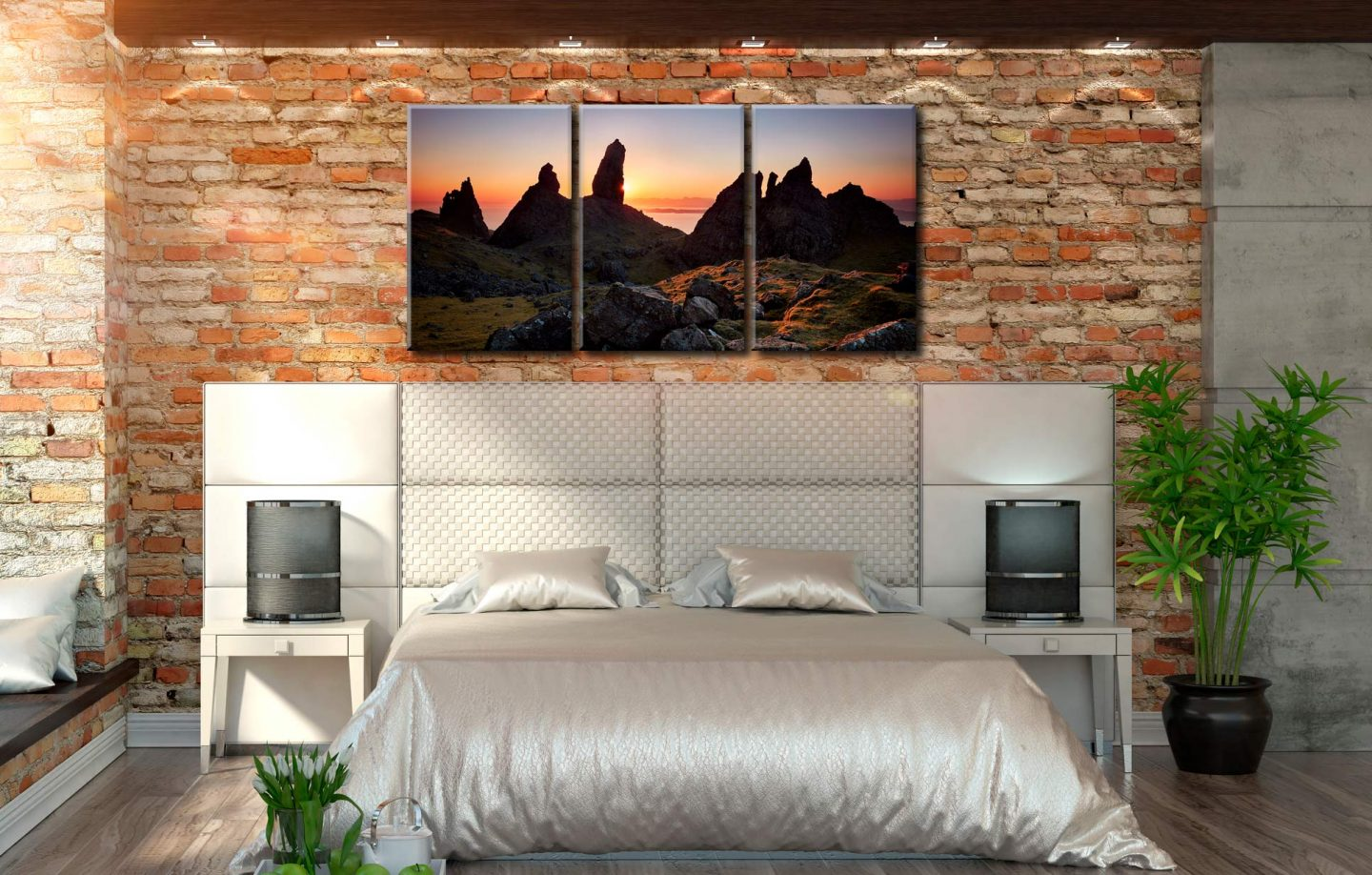 Old Man of Storr Sunrise - 3 Panel Canvas on Wall