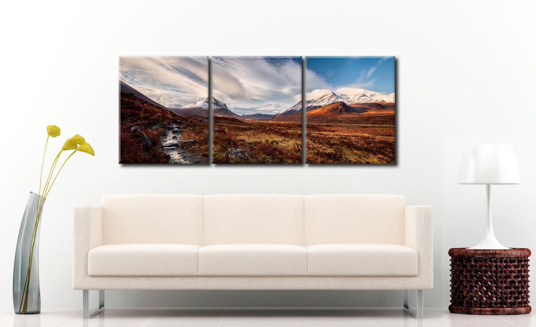 Glen Sligachan Isle of Skye - 3 Panel Canvas on Wall