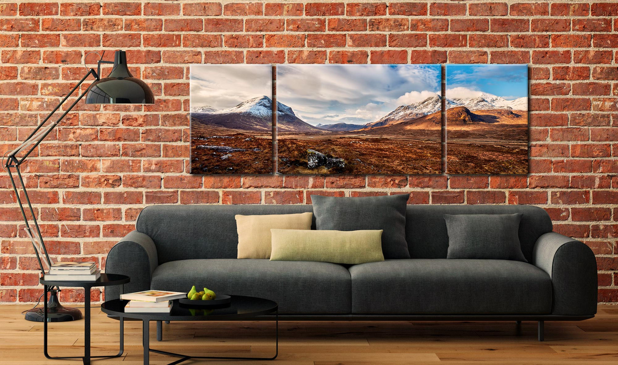 Cuillin Mountains from Glen Sligachan - 3 Panel Wide Centre Canvas on Wall