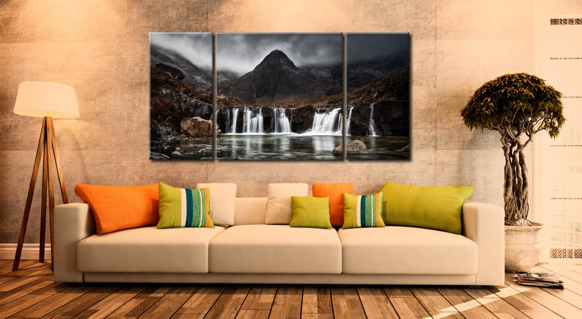 Fairy Pools Waterfall - 3 Panel Wide Centre Canvas on Wall