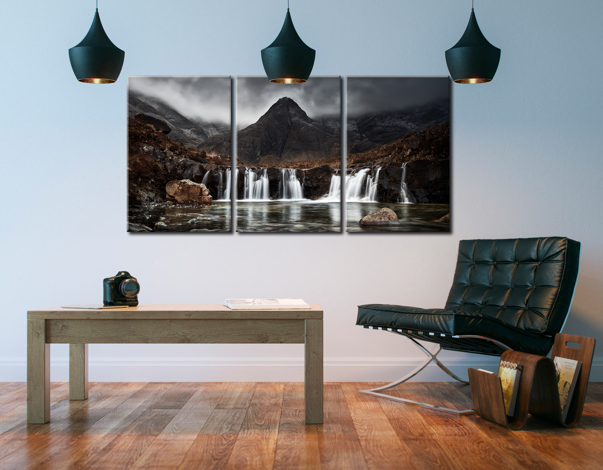Fairy Pools Waterfall - 3 Panel Canvas on Wall