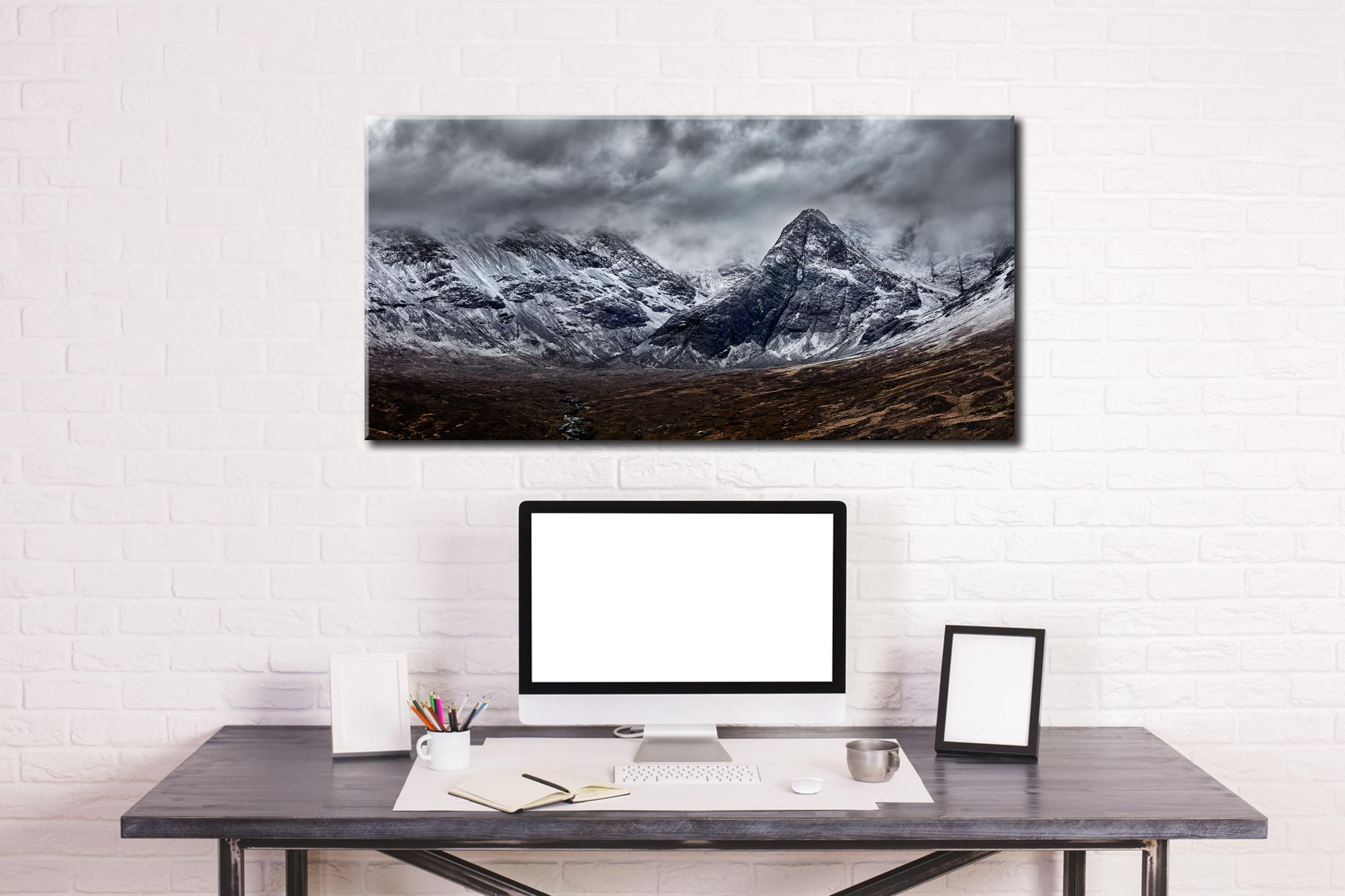 Black Cuillins Snow Fall - Canvas Print on Wall