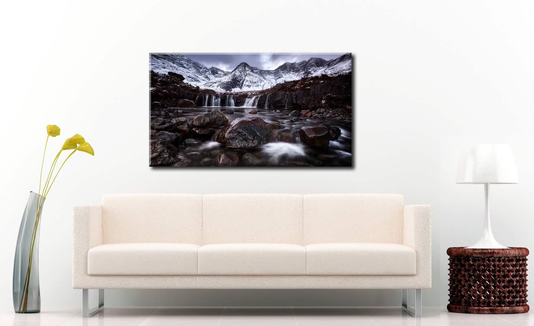 Fairy Pools Rocks Mountains Snow - Canvas Print on Wall