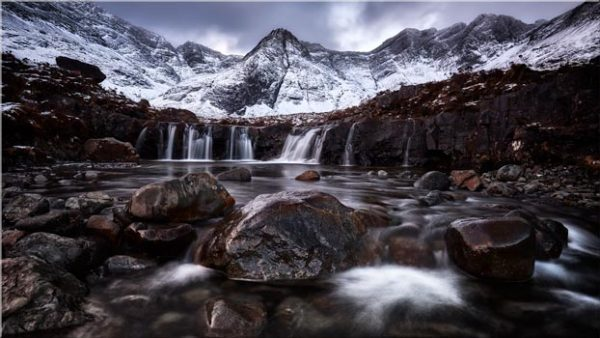 Fairy Pools Rocks Mountains Snow - 3 Panel Canvas