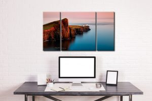Calmness at Neist Point Lighthouse - 3 Panel Canvas on Wall
