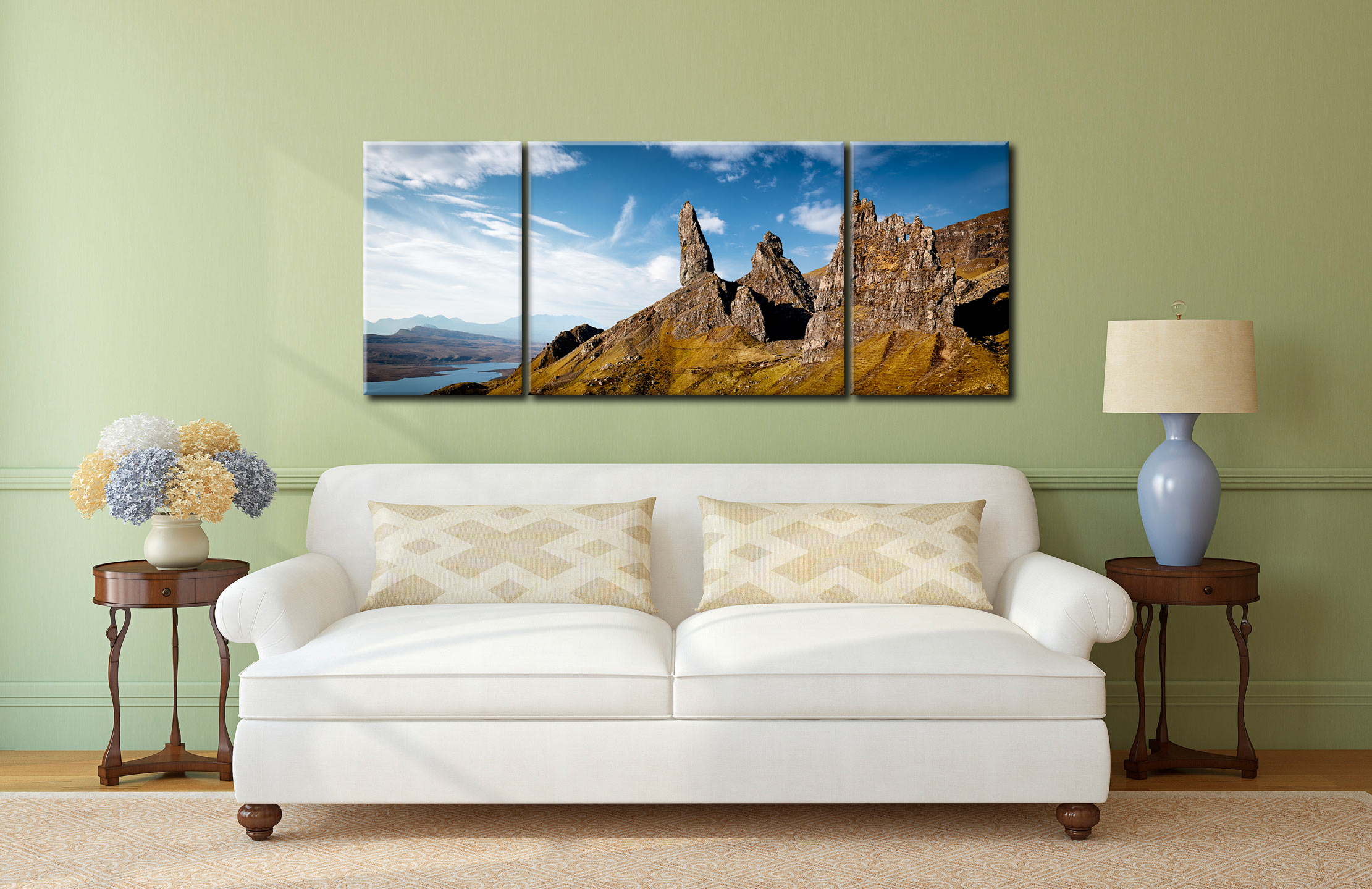 The Old Man of Storr and Needle Rock - 3 Panel Wide Centre Canvas on Wall