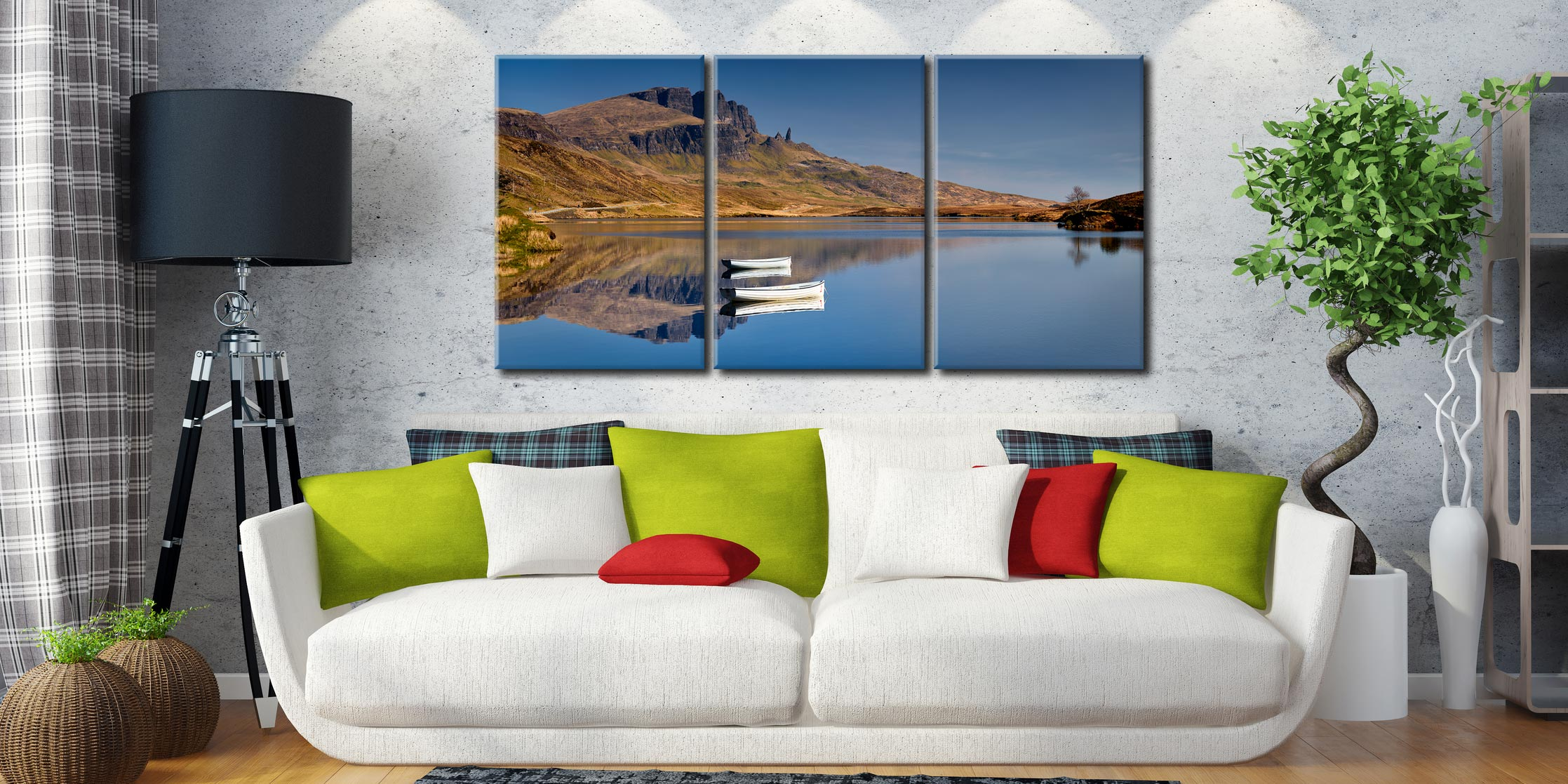 Peaceful Morning at Loch Fada - 3 Panel Canvas on Wall