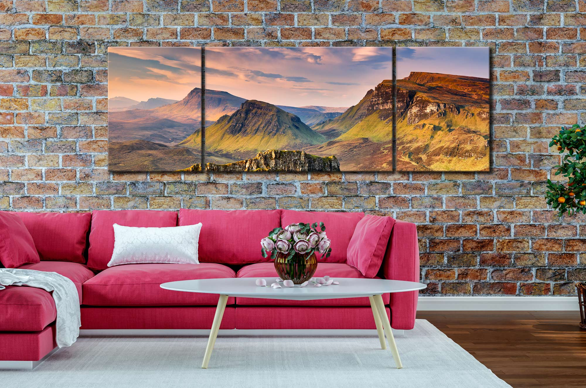 Trotternish Mountains Isle of Skye - 3 Panel Wide Centre Canvas on Wall