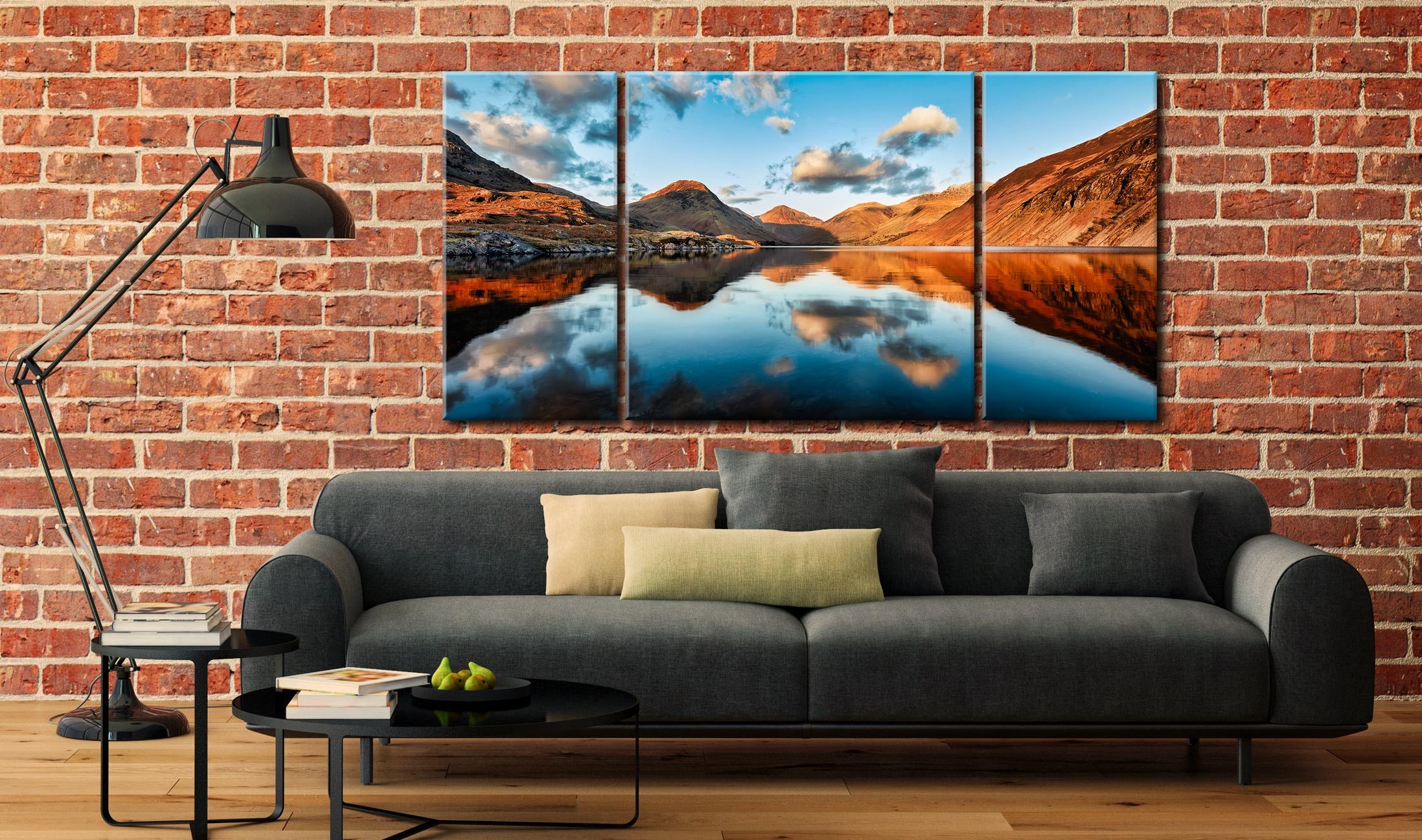 Golden Light Over Wast Water - 3 Panel Canvas on Wall
