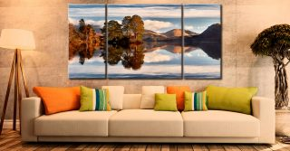 Otter Island in Derwent Water - 3 Panel Wide Centre Canvas on Wall