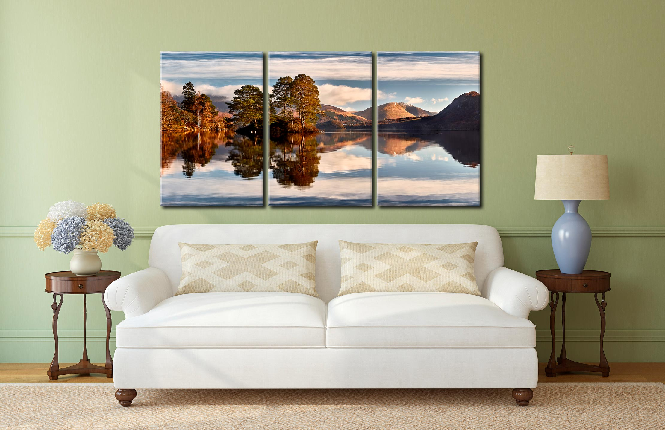 Otter Island in Derwent Water - 3 Panel Canvas on Wall