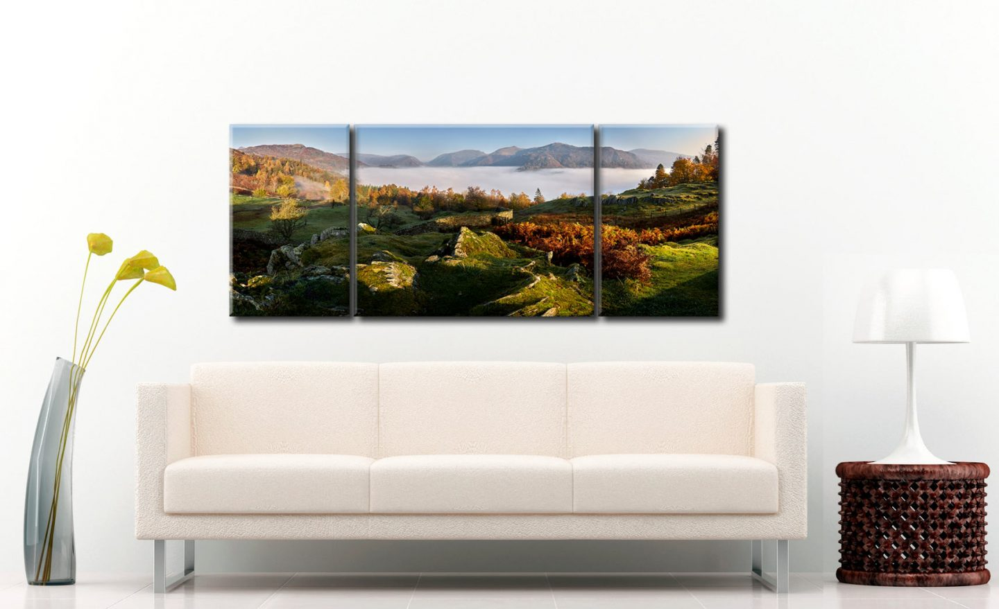 Cloud Inversion over Grasmere - 3 Panel Wide Centre Canvas on Wall