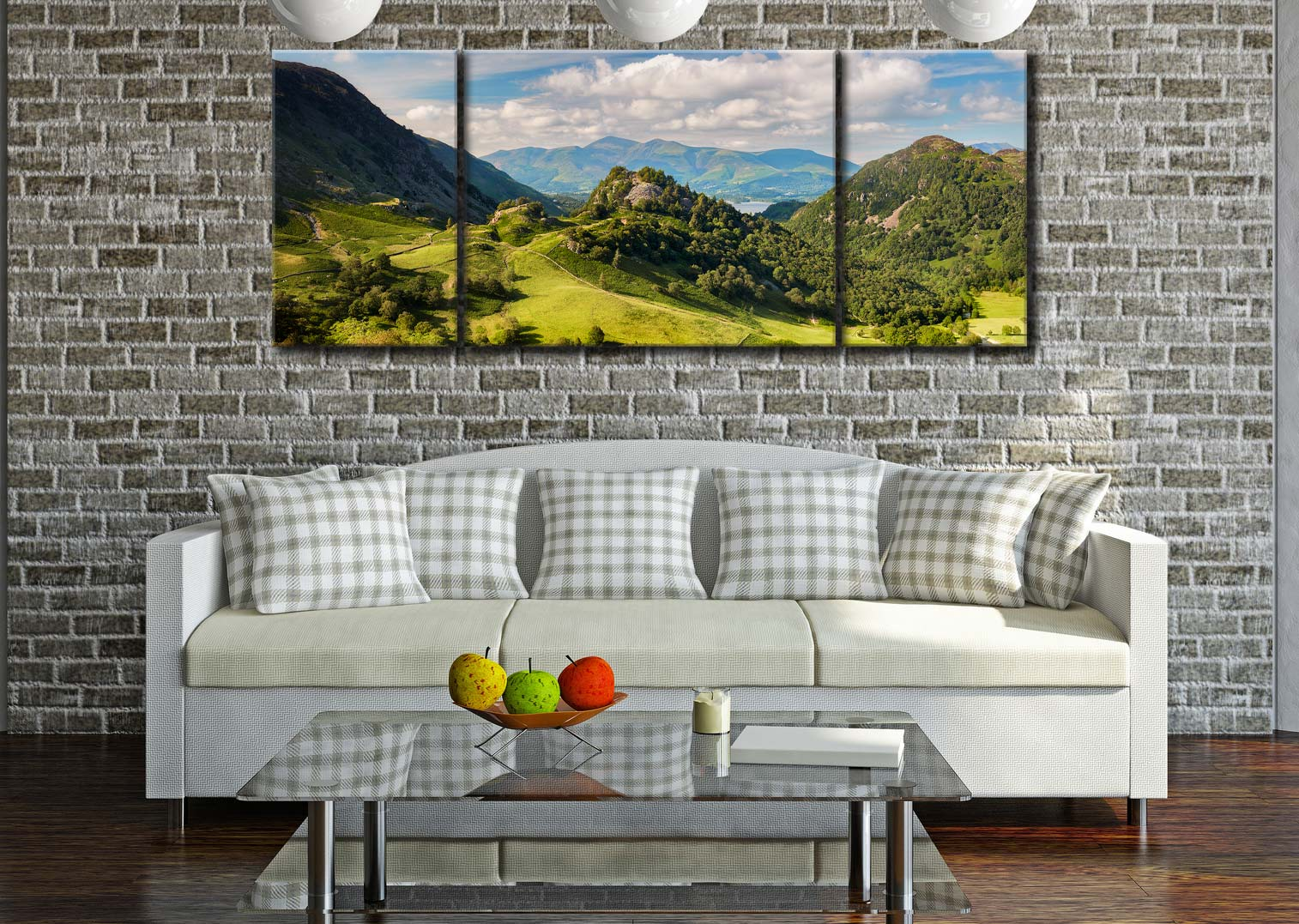 Castle Crag Summers Afternoon  - 3 Panel Wide Mid Canvas on Wall