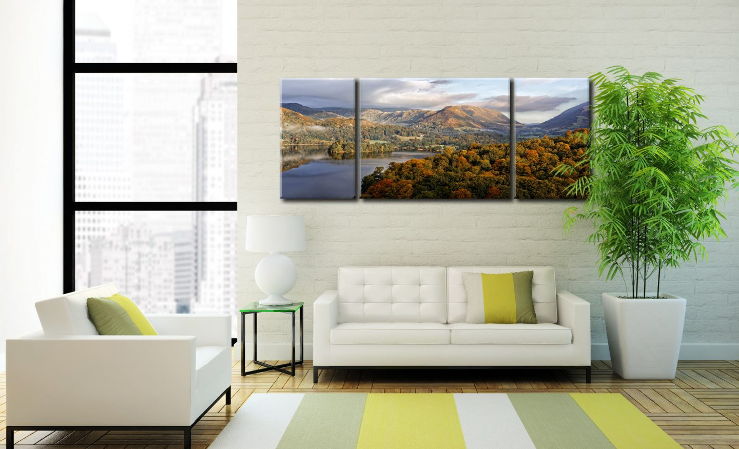 Grasmere Autumn Morning - 3 Panel Wide Centre Canvas on Wall