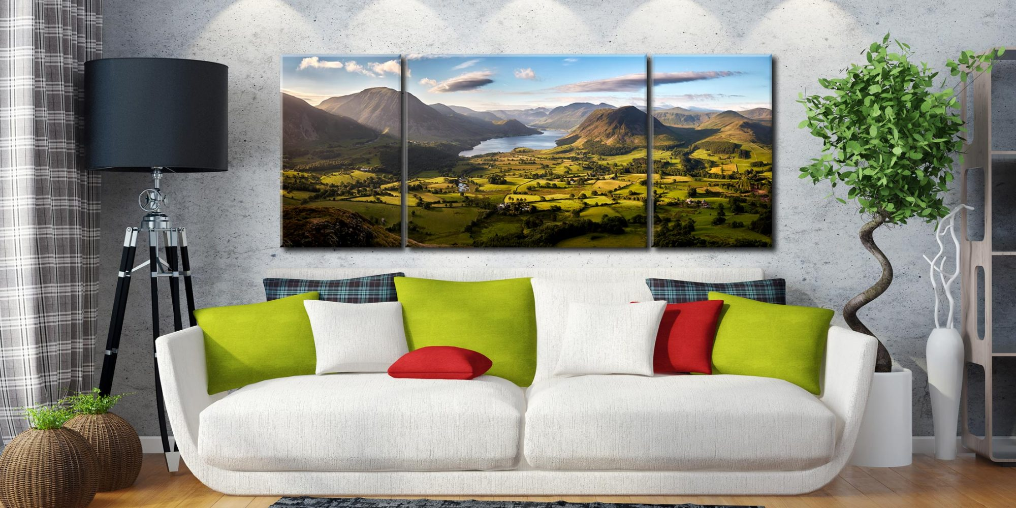 Loweswater Fell Vista - 3 Panel Wide Centre Canvas on Wall
