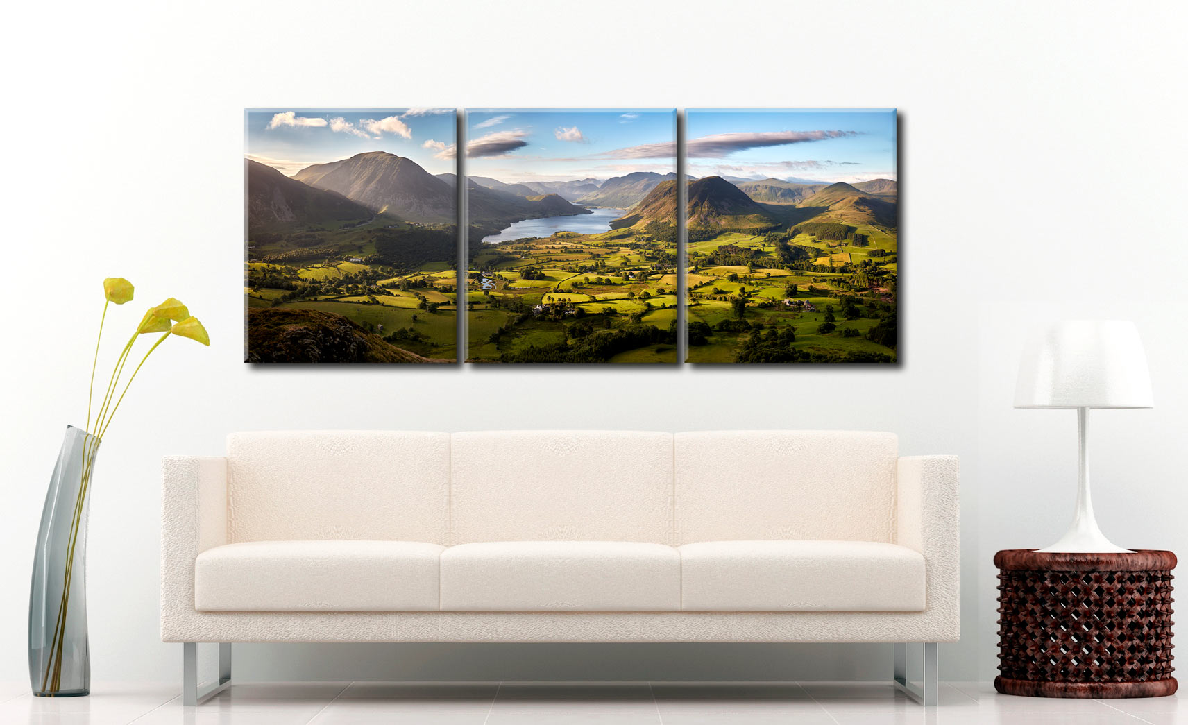 Loweswater Fell Vista - 3 Panel Canvas on Wall