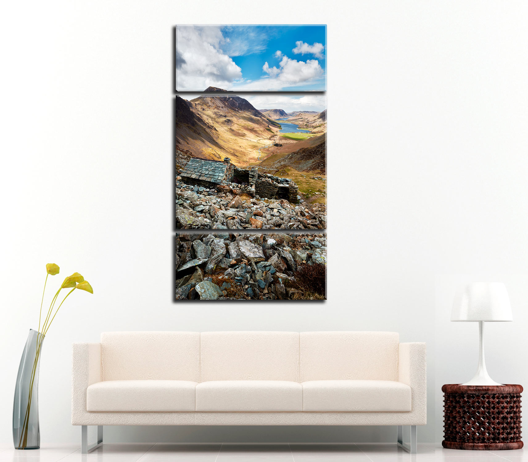 Warnscale Bothy Above Buttermere - 3 Panel Canvas on Wall